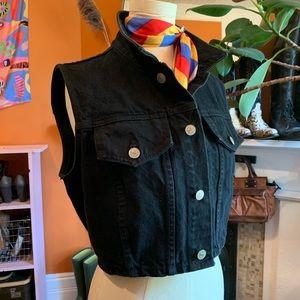 Vintage 90s Bongo Black Denim Cropped Vest
